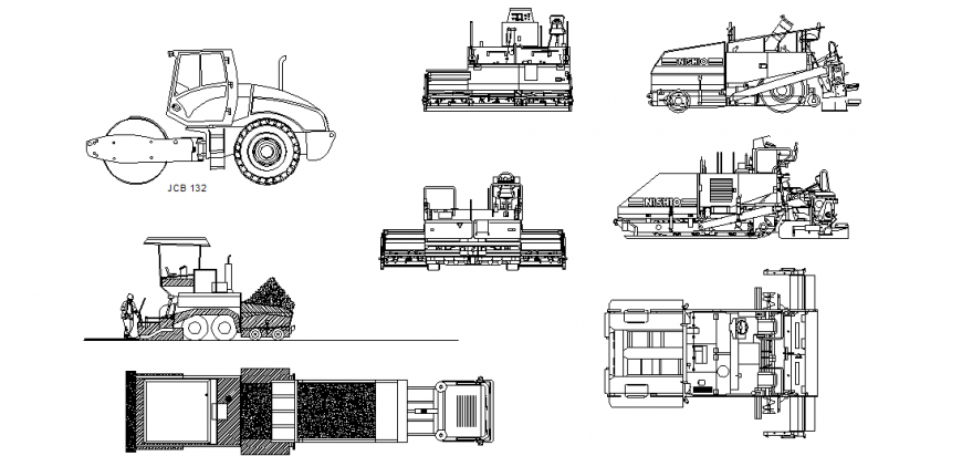Asphalt paving different vehicle design view dwg file