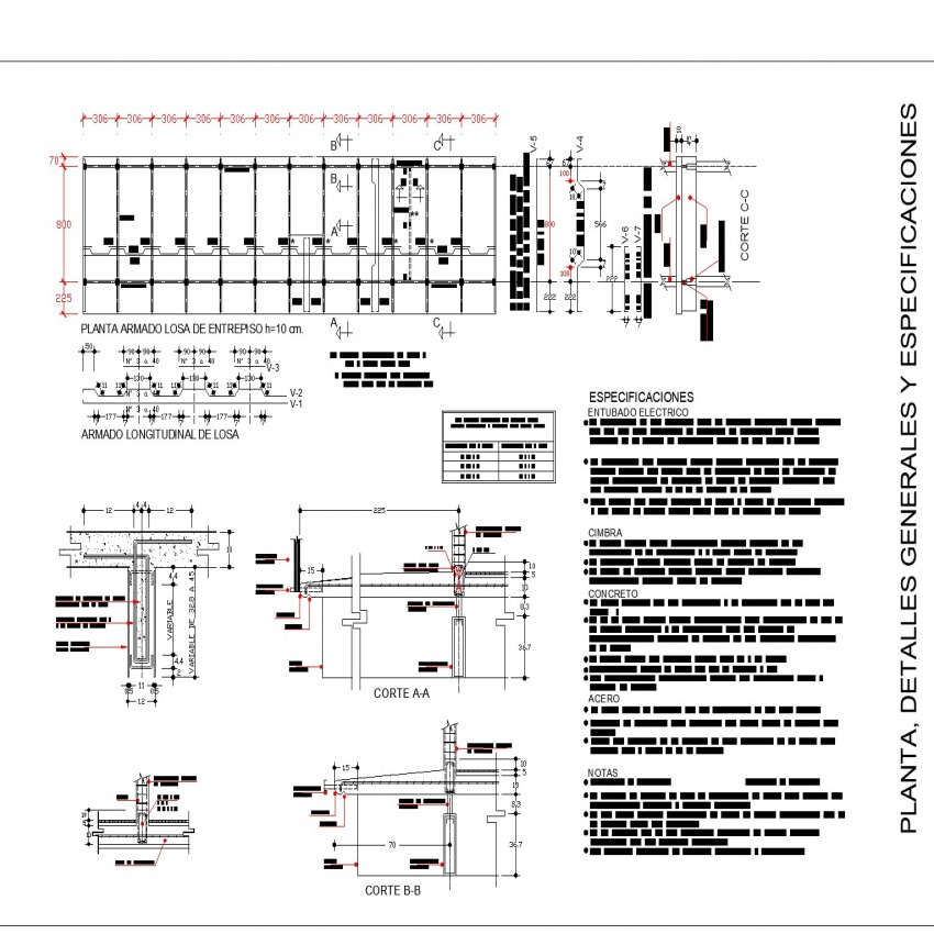 Assembly of a slab plan and section autocad file