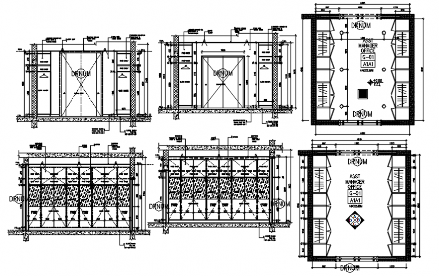 Assistance manager office constructive section, plan and structure details dwg file