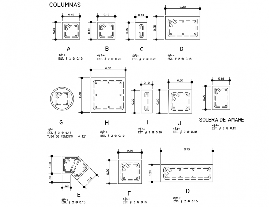 Assorted sectional details of column of house dwg file