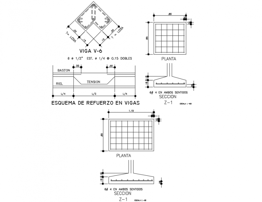 Assorted sectional details of house building dwg file