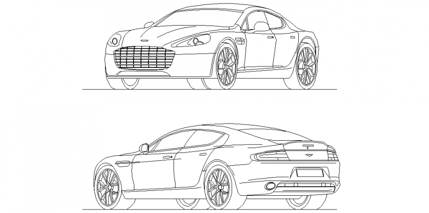 Aston martin rapid car isometric view with front and back side view dwg file