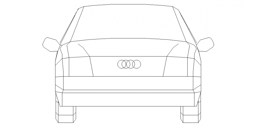Audi car isometric view with elevation of vehicle design dwg file
