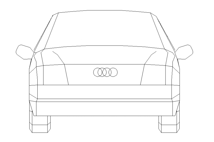 Audi luxuries car front elevation cad block details dwg file