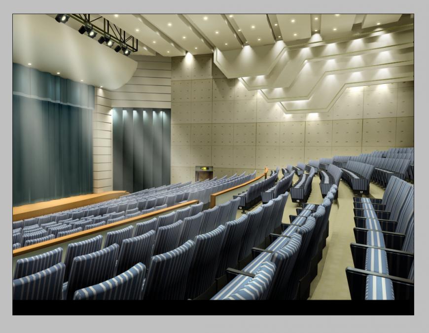 Auditorium building detail elevation 3d model photoshop file