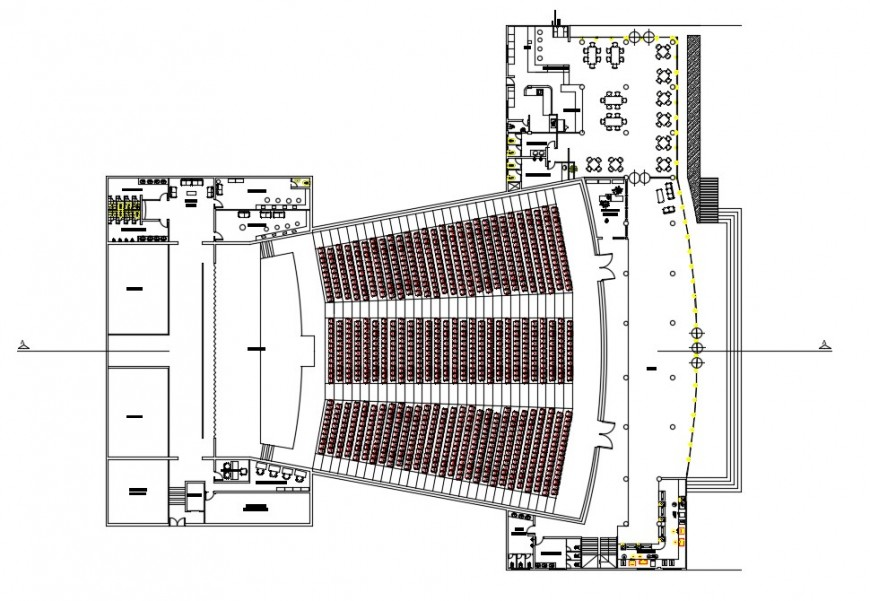 Auditorium building layout 2d view layout floor plan dwg file