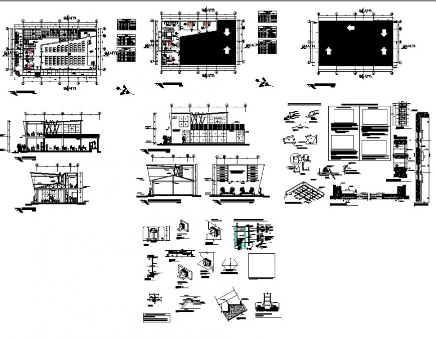 Auditorium building structure detail plan and section 2d view layout file in autocad format