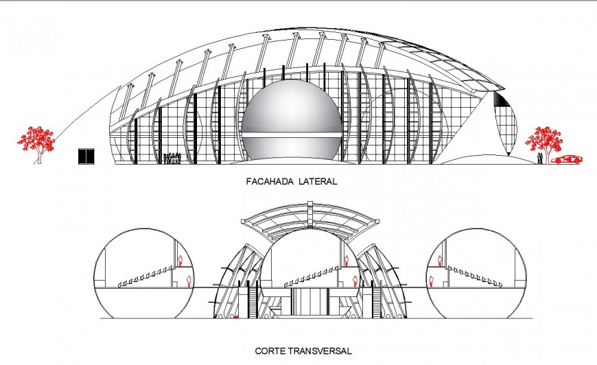 Auditorium elevation and section autocad file