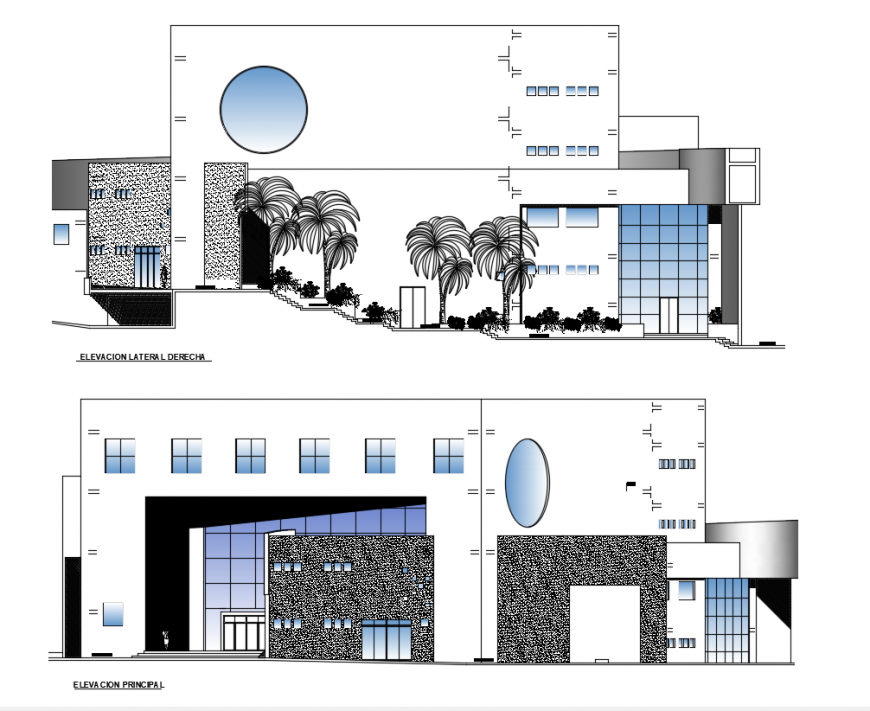 Auditorium Elevation design dwg file