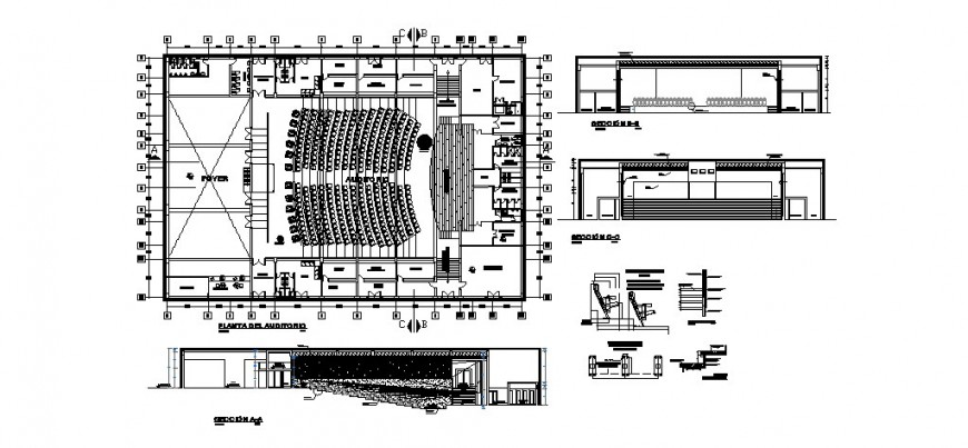 Auditorium hall all sided section and layout plan cad drawing details dwg file