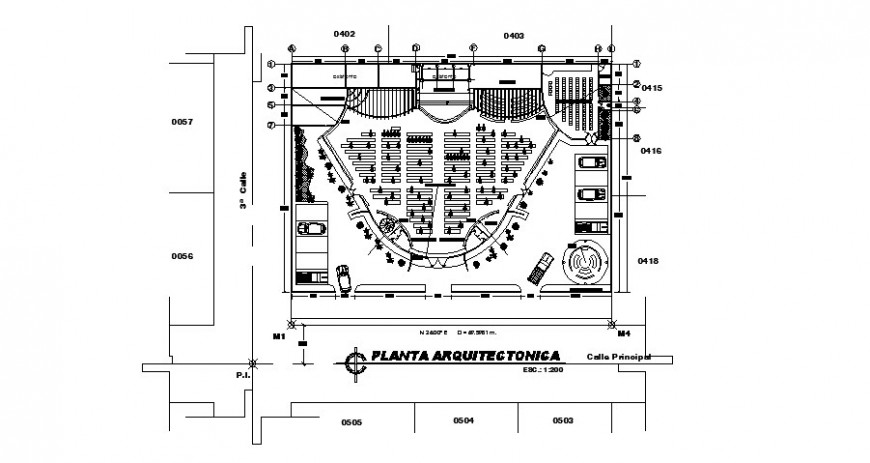 Auditorium hall architecture layout plan cad drawing details dwg file