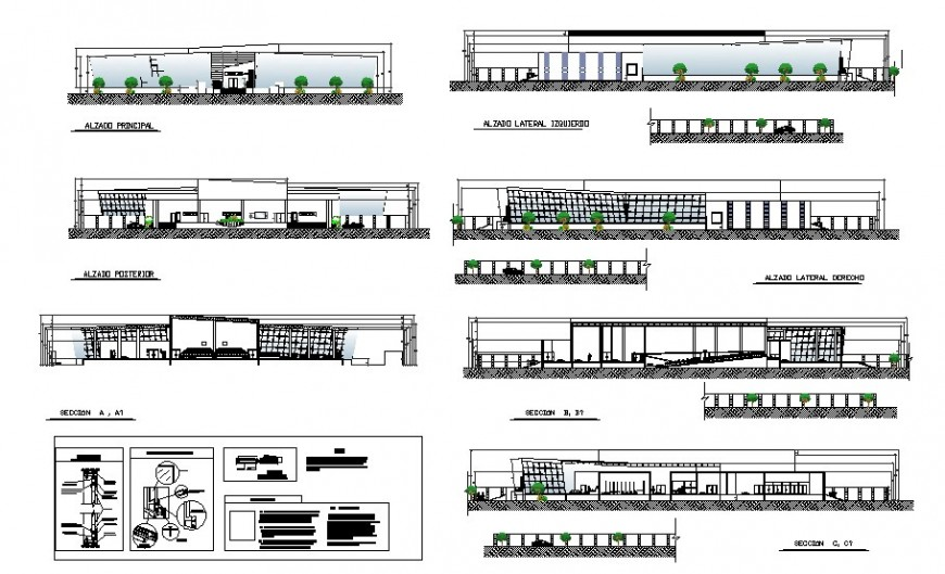 Auditorium hall building all sided elevation and section drawing details dwg file