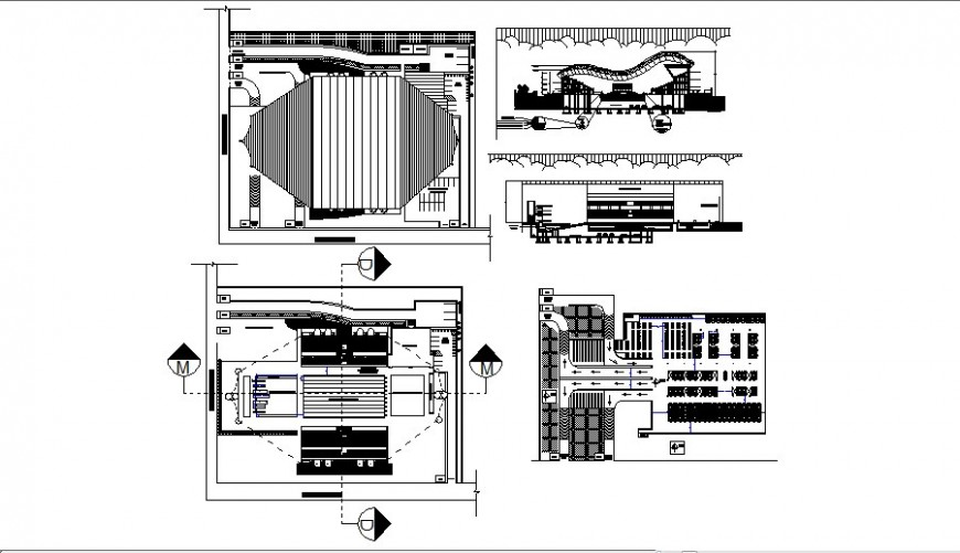 Auditorium hall building elevation, section and floor plan drawing details dwg file