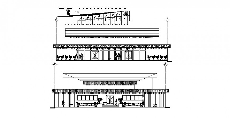 Auditorium hall building main and back elevation cad drawing details dwg file