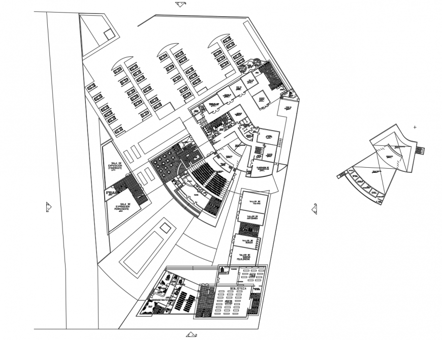 Auditorium hall distribution layout plan cad drawing details dwg file