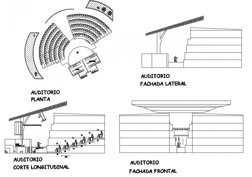 Auditorium hall elevation, section and plan 2d drawing details dwg file
