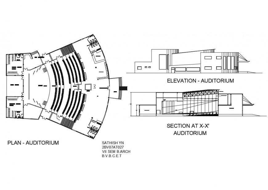 Auditorium hall elevation, section and plan details dwg file