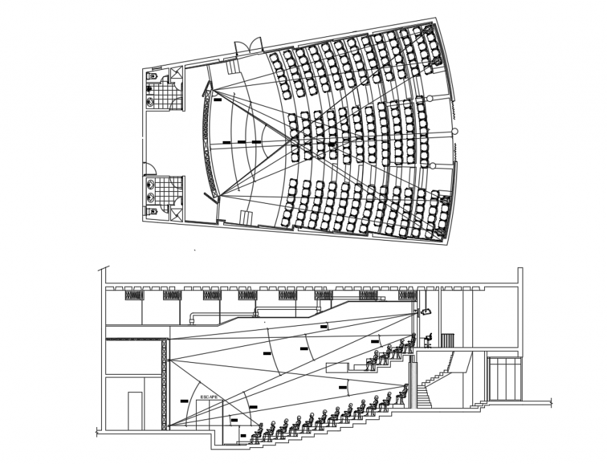 Auditorium hall facade section and layout plan details dwg file