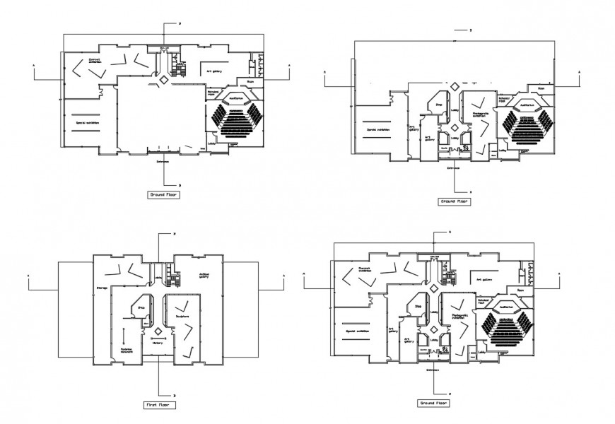 Auditorium hall floor distribution plan cad drawing details dwg file