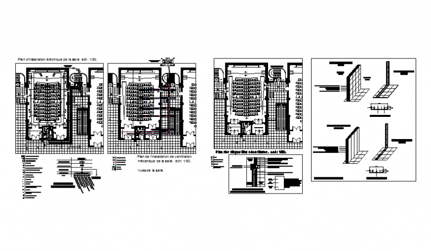Auditorium hall floor plan and constructive structure details dwg file