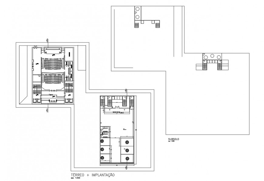 Auditorium hall floor plan distribution cad drawing details dwg file
