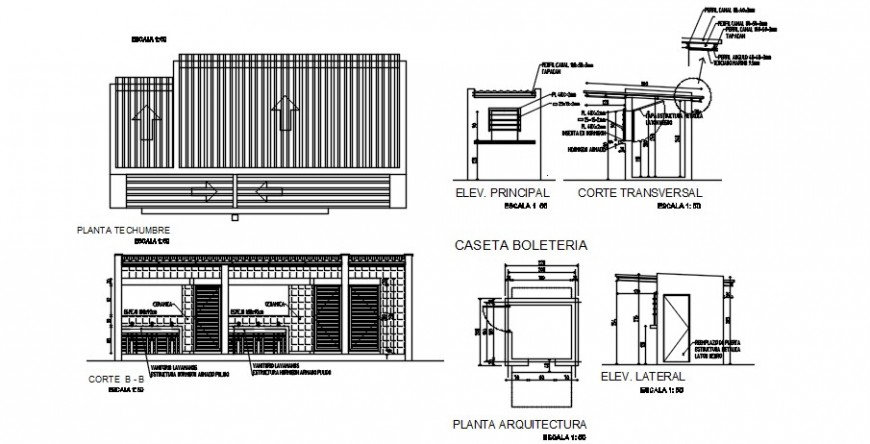 Auditorium hall kitchen section with furniture and structure details dwg file
