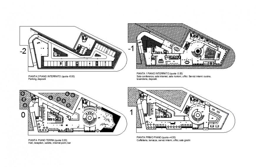 Auditorium hall multi-story floor plan distribution cad drawing details dwg file