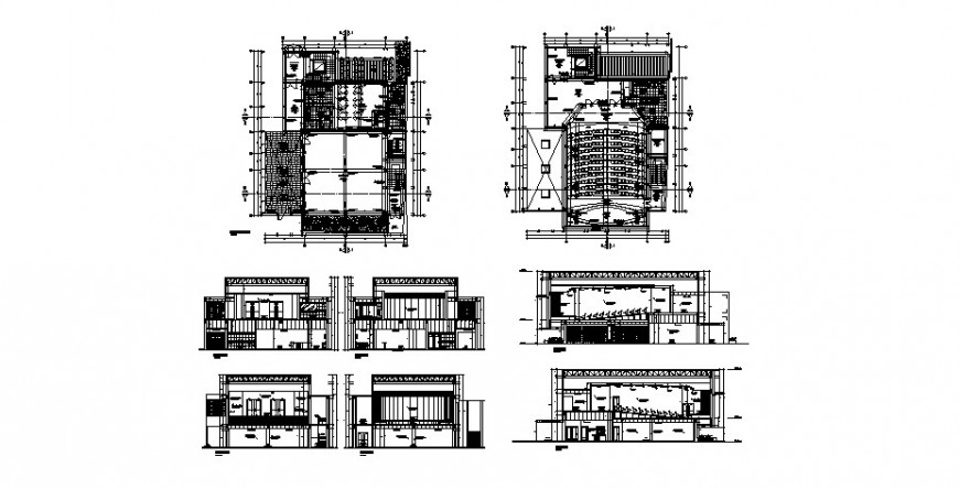 Auditorium hall with cafeteria all sided section and floor plan cad drawing details dwg file