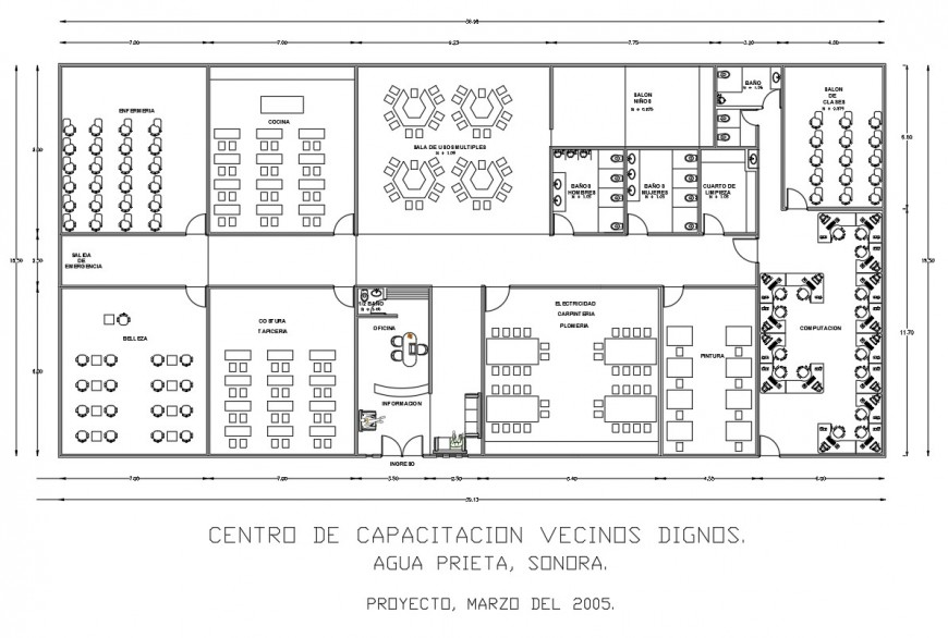 Auditorium hall with community center distribution plan cad drawing details dwg file