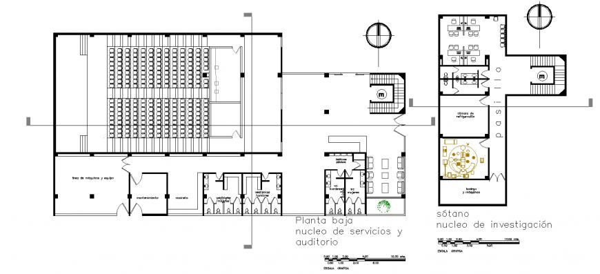 Auditorium plan drawing in dwg file.