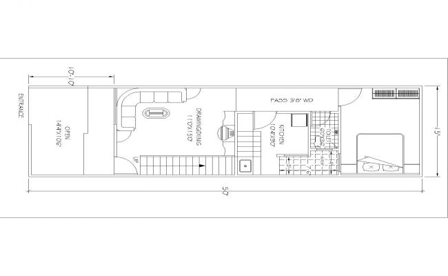 auto Drawing for house Plan(15'X50') 3nd