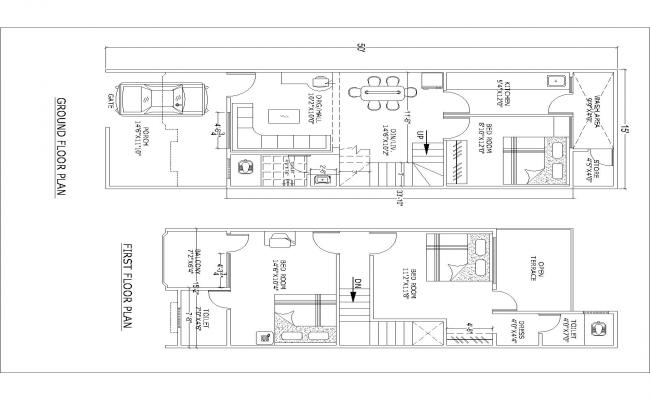 auto Drawing for house Plan(15'X50')