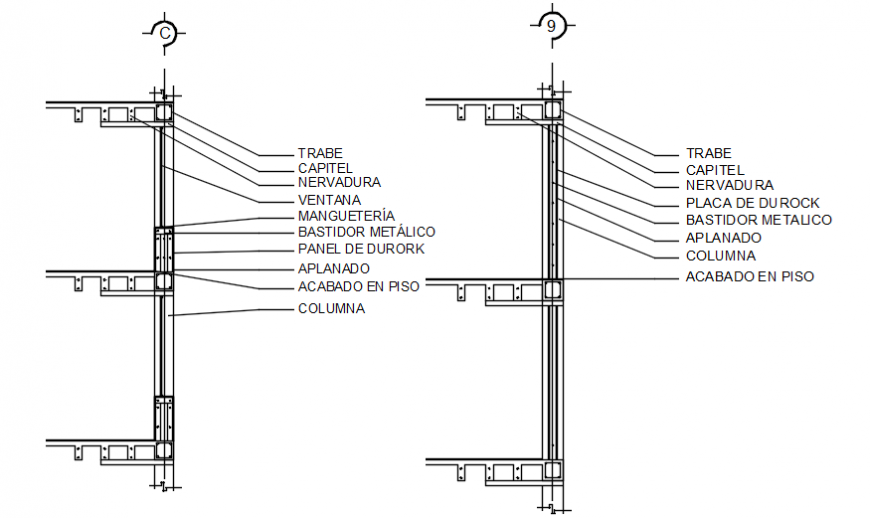 Autocad drawing file of a hotel wall sections