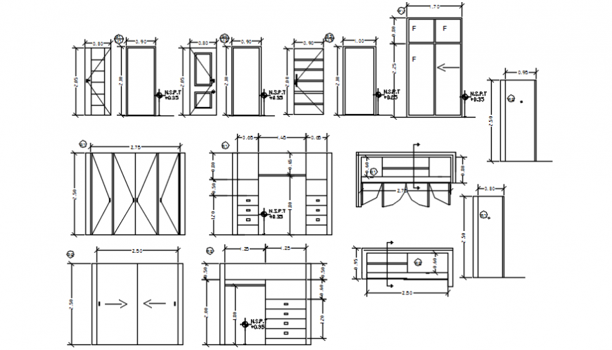Autocad drawing file of cad blocks of door, cupboard plan, sections and elevations