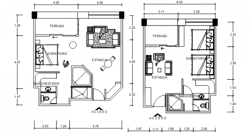 Autocad drawing file of floor plan layout options of a residential house