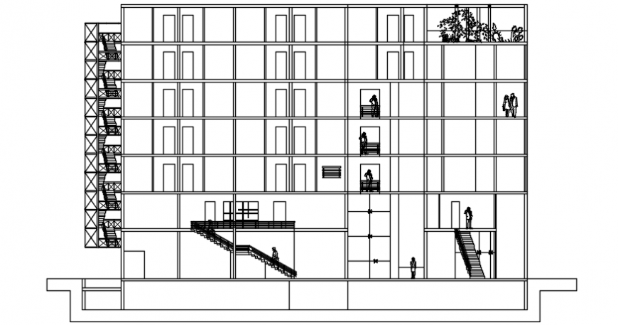 Autocad drawing file of hotel building section