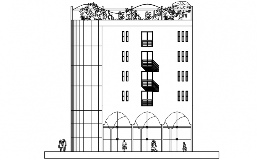 Autocad drawing file of hotel main facade elevation
