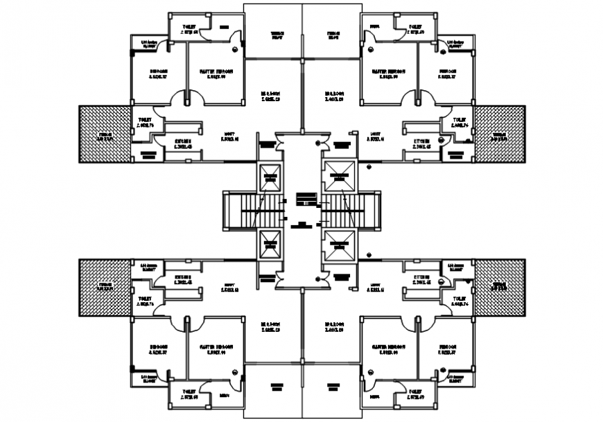 Autocad drawing of 2BHK housing flats second floor plan of 4 unit clusters