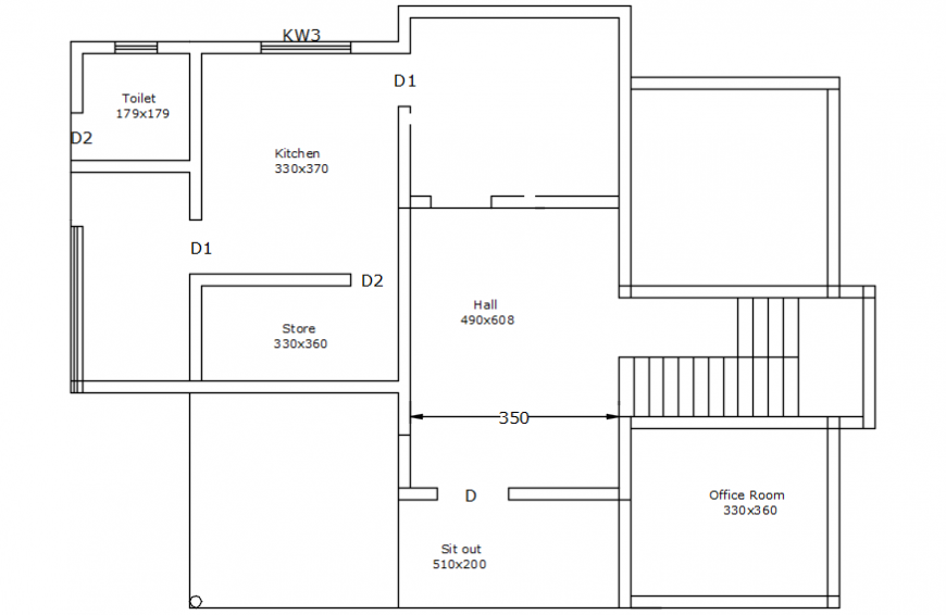 Autocad drawing of a house floor layout