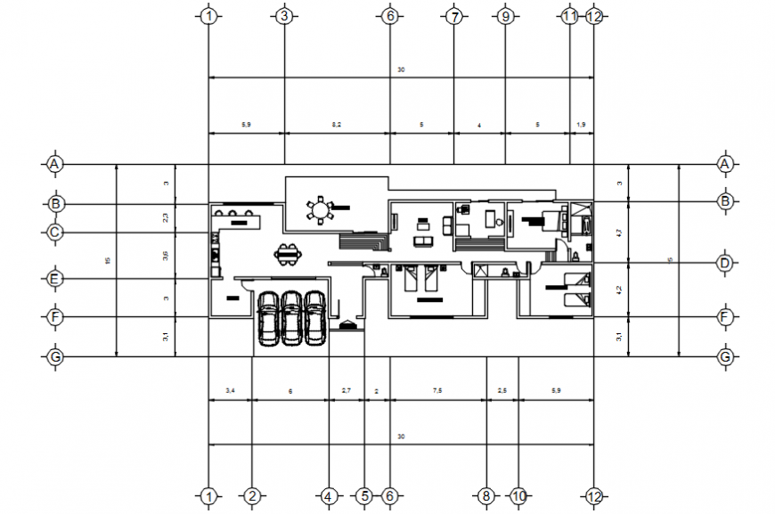 Autocad drawing of a residential building plan