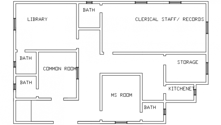 Autocad drawing of administration office of a hospital