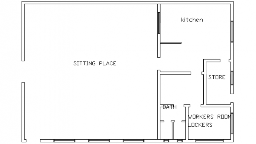 Autocad drawing of cafeteria layout plan of an hospital