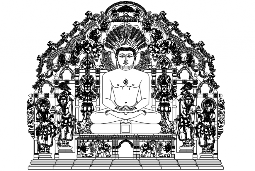 Autocad drawing of elevation of Lord Mahavir