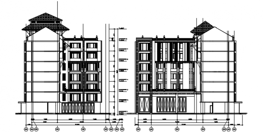 Autocad drawing of elevations of hotel