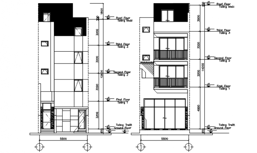 Autocad drawing of elevations of house design