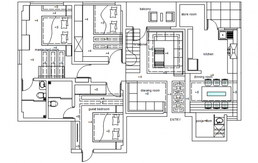 Autocad drawing of false ceiling plan of a residential building