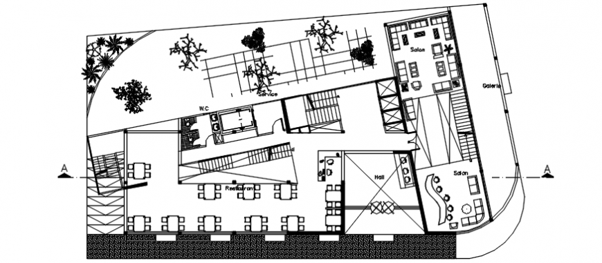 Autocad drawing of floor plan of a hotel showing restaurant and reception area