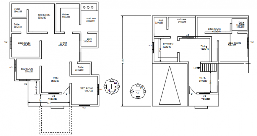 Autocad drawing of floor plans of a residential building