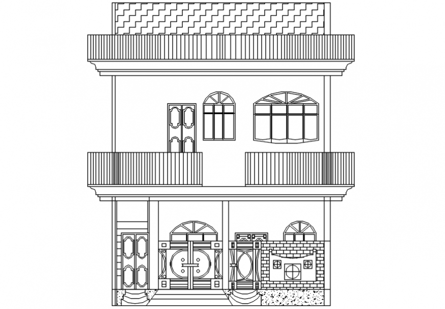 Autocad drawing of front elevation of a house showing all the details