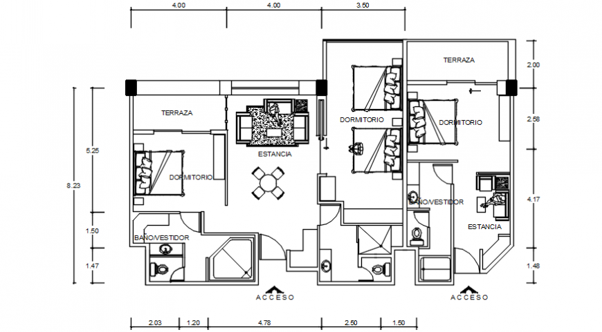 Autocad drawing of ground floor plan of a residential house